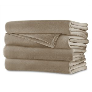 Sunbeam Velvet Plush Queen Heated Blanket — Walnut Brown