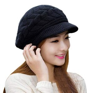 Hindawi Women's Winter Hat Girls Warm Outdoor Wool Knit Crochet Snow Cap