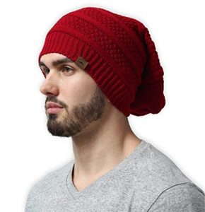 Slouchy Cable Knit Beanie Chunky Oversized Slouch Beanie Hat for Men