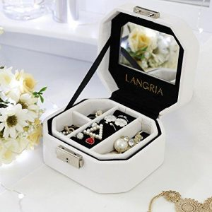 LANGRIA White Faux Leather Jewelry Box