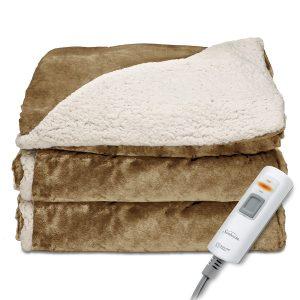 Sunbeam Reversible SherpaRoyalMink Heated Throw Blanket with EliteStyle II Controller, Honey