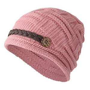 35d318f7 ELACUCOS Women Winter Beanie Cabled Checker Pattern Knit Hat Button Strap  Cap