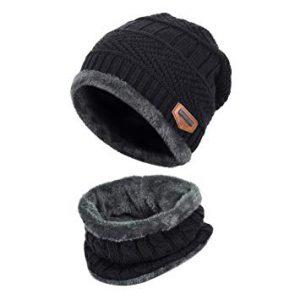 VBIGER 2-Pieces Winter Beanie Hat Scarf Set For Men1