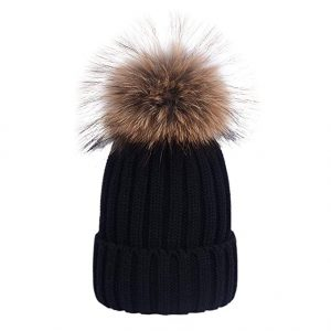 26a05bd87451b2 Womens Girls Knitted Fur Hat Real Large Raccoon Fur Pom Pom Beanie Hats