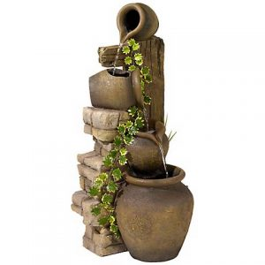 Three Rustic Jugs Cascading 33 High Fountain