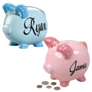 Miles Kimball Personalized Ceramic Kids Piggy Bank
