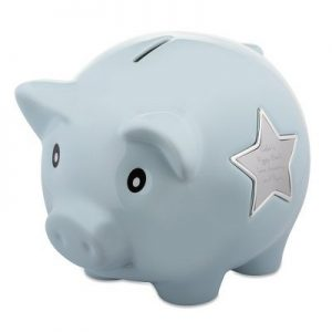 Things remembered Personalized Light Blue Ceramic Piggy Bank