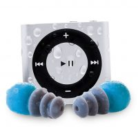 AudioFlood Waterproof Apple iPod Shuffle by with True Short Cord Headphones
