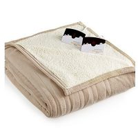 Biddeford MicroPlush Sherpa Electric Heated Blanket Queen Taupe