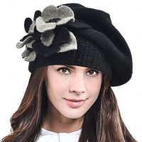 F&N STORY Lady French Beret Wool Beret Chic Beanie Winter Hat