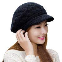 Hindawi Women's Winter Hat Girls Warm Outdoor Wool Knit Crochet Snow Cap