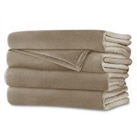 Sunbeam Velvet Plush Queen Heated Blanket — Walnut Brown